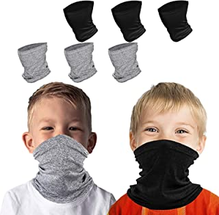 6 – 14岁儿童凉爽围巾,透气大手帕面罩,男女通用 6件装