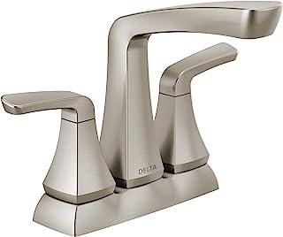 Delta Faucet Vesna 2 把手浴室水龙头组件和无忧排水吸管,SpotShield 拉丝镍 25789LF-SP 中心套装