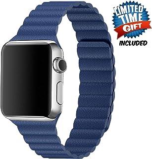 Inno-Huntz 皮革表帶兼容 Apple Watch 38mm 42mm 經典表帶替換表帶適用于 IWatch 系列 4 3 2 1 強磁扣男士女士腕帶 38mm/40mm 深藍色