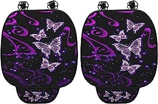 Babrukda 2 件装蝴蝶 Galaxy 紫色汽车座椅靠垫,座垫带储物袋,透气座垫垫套座底部保护垫适合大多数汽车座椅、办公椅、轮椅