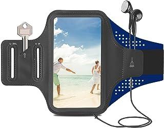 ORIbox 跑步臂带,臂带适用于手机跑步,轻质多功能便携,适用于 iPhone,iPhone 12 Pro max/12 Pro/12 mini/11 Pro max/11 适用于三星 Galaxy (蓝色)