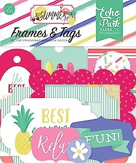 Echo Park Paper Company BS182025 Best Summer Ever 画框和标签 Ephemera 粉色、青色、黄色、*、紫色