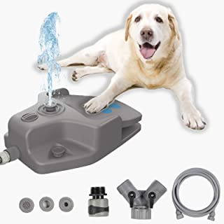keren 狗喷泉,自动狗洒器玩具,爪子激活狗饮水器,带 3 个喷嘴,9.8 英尺(约 2.4 米)软管和 Y 型分配器,适用于大犬和小型犬