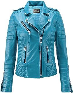 Benjer Skins 女式皮夹克摩托车赛车咖啡馆赛车骑行夹克蓝*