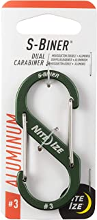 Nite Ize SBA3-08-R6 双登山扣,适用于钥匙和 EDC,尺寸 #3,橄榄色