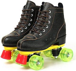 女式溜冰鞋,PU 皮高帮溜冰鞋,双排闪亮溜冰鞋,四轮滑冰鞋,黑色,适合初学者,成人,室内户外