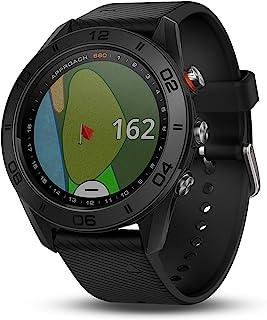 GARMIN 佳明 APPROACH S60高尔夫 GPS 腕表,黑色皮质表带 1.2 英寸(约 3 厘米)
