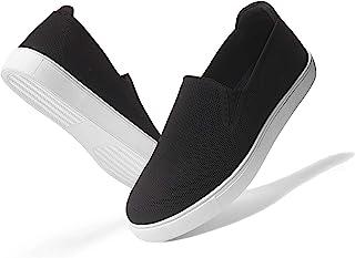 GENSHUO 女式时尚运动鞋乐福鞋,Caucal 一脚蹬透气针织乐福鞋平底鞋舒适运动鞋日常鞋