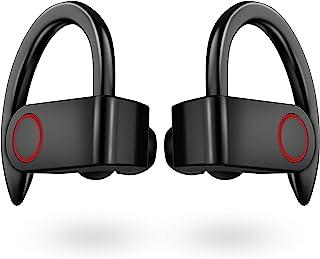 无线耳塞 IPX8 防水,[*] Aznze 蓝牙 5.0 运动耳机立体声低音 TWS 耳塞 头戴式 10 小时播放无线耳机带麦克风和充电盒适用于跑步/工作