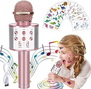 OuOnDaD 无线蓝牙卡拉 OK 麦克风,带 65 件独角兽恐龙临时纹身玩具,适合 3 – 14 岁女孩男孩儿童的玩具