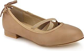 ROF 女式 vegan 圆头 Mary JANE 天鹅绒芭蕾平底鞋