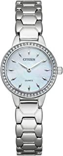 Citizen 西铁城女式石英不锈钢表带,银色,12 休闲手表(型号:EZ7010-56D)