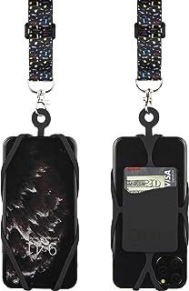 带可调节颈带的 Gear Beast 手机挂绳,适用于 iPhone Galaxy 和大多数智能手机,硅胶手机支架带卡袋和可调节缎面涤纶挂绳LAN-PST25A-MUS-BLK 音乐笔记