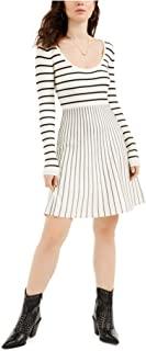 GUESS 女式象牙色条纹长袖低圆领及膝修身 + 喇叭裙尺码 S