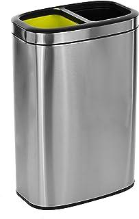 Alpine Industries 不锈钢双层隔层垃圾桶 - 小巧垃圾桶 - 宽开口顶部纤细耐用隔层 配有坚固的塑料内衬 10.5 Gallon 470-R-40L