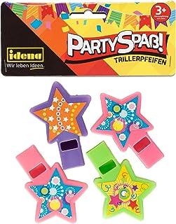 Idena 40437 派对乐趣 Triller哨子 4 件 彩色星形和彩色贴纸 尺寸约为 7 x 5 厘米,分类