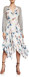 Joie 女式 Morley V 领长袖 A 字型丝绸绉纱乔其纱连衣裙 瓷器 00 白色