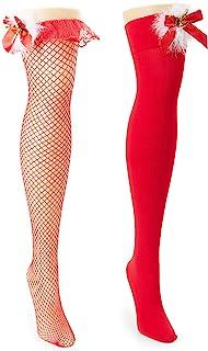 性感 Mrs Claus 内衣袜,淘气圣诞服装,渔网,红色,白色,毛绒蝴蝶结(2 双)