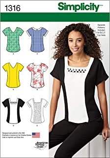 Simplicity American Sewing Guild Pattern 1316 少女上衣带领口变化尺码 6-8-10-12-14