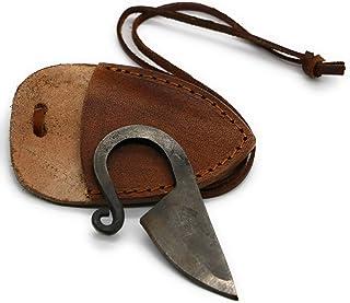 VikingsBrand - 手工锻造维京刀(棕色皮革护套) | 送给男士和历史爱好者的独特礼物 | 大马士革钢凯尔特刀带皮革项链绳 | 维京口袋刀