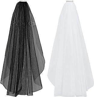 Miayon 2 件套 1 层新娘婚礼面纱 带梳子 新娘薄纱发饰 光滑边缘 白色和黑色