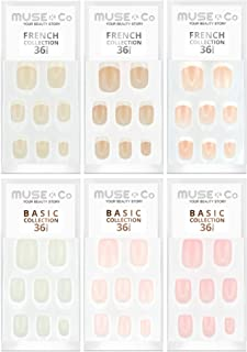 MUSE & Co 粘胶 36 个假*中等长度光泽自然多件装(6 件装)
