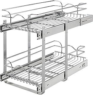 Rev-A-Shelf 5WB2-1222CR-1 12 x 22 英寸(约 30.4 x 55.8 厘米)2层线篮拉出架储物柜,适用于厨房底柜组织,镀铬