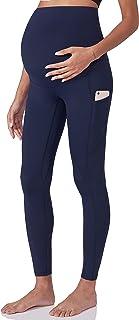 POSHDIVAH 女式孕妇锻炼打底裤肚皮孕妇瑜伽裤带口袋全长柔软运动裤*蓝中号