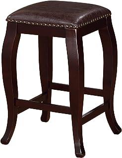 Benjara BM16680 木制柜台凳,带缓冲座椅和钉头装饰边缘,棕色
