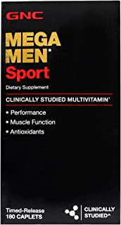 GNC Mega Men Sport Daily Multivitamin for Performance, Muscle Function, and General Health -180 Count