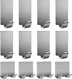 粘性挂钩、粘钩、墙壁钥匙扣、重型粘性防水不锈钢挂钩,适用于毛巾、外套、长袍、包、鞋、文件、家庭、厨房、浴室、办公室(12 件套)