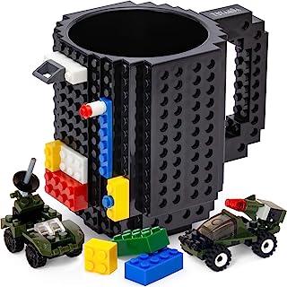 TOYAMBA Build-on Brick 马克杯 - 453.59 ml 不含 BPA 趣味咖啡杯 3 件装积木,儿童趣味杯 - 创意积木马克杯 DIY 礼物创意 黑色 16盎司 NCS-TMB-001