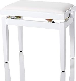 Bespeco SG101WLVB 木质钢琴凳,白色有光泽,座椅表面为天鹅绒米色