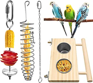 EBaokuup 鸟类喂食碗 带木台 4 件鸟类食品架 不锈钢蔬菜水果喂食器 适用于小动物
