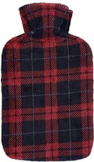 大号热水瓶带柔软羊毛盖深红色黑色格子格子图案设计冬季夜热疗床沙发舒适*可拆卸 2 升天然橡胶 35 厘米