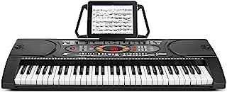 Flexzion 61 键电子键盘专业数字钢琴 w/标准全尺寸加重动作键,AUX/麦克风输入,节奏编程,录音播放,持续,USB MP3 播放器