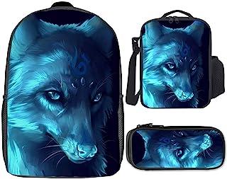 背包 3 件套午餐盒笔盒适合青少年返校轻质背包适合男孩女孩 [老虎狮子狼系列]