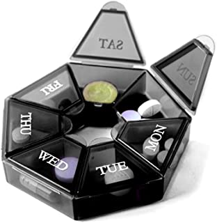 7 面便携式药丸盒*规划小盒(七天每周旅行容器)*、维生素盒收纳盒药丸盒分配器整理器、分类器和提醒容器
