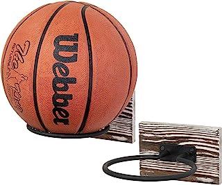 MyGift 壁挂式火炬木和黑色金属家庭健身房运动球篮球足球排球足球设备存储支架展示架,2 件套