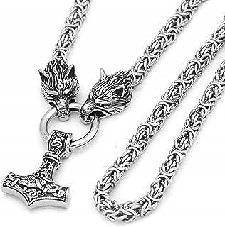 BAVAHA 男士不锈钢项链 维京狼头 雷神锤 Mjolnir 吊坠 挪威 护身符 民族珠宝男士