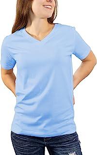 KAJPAC 女式 V 领 T 恤 Supima 棉 T 恤 时尚短袖 T 恤