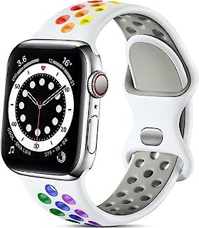 Lerobo 兼容 Apple Watch 表带 40 毫米 38 毫米,运动软硅胶腕带替换腕带适用于 Apple Watch SE 和 iWatch 系列 6 5 4 3 2 1,运动版女士男士,白色/彩虹色,M/L