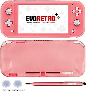 EVORETRO Grip 适用于 Nintendo Switch Lite - TPU 保护便携式保护套配件,带笔和拇指棒,与 Switch Lite 控制台兼容(粉色)