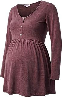 Bhome 孕妇衬衫长袖上衣孕妇圆领衬衫休闲前褶荷叶边衬衫