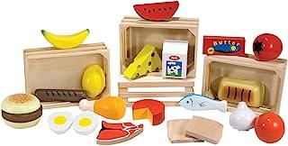 Melissa & Doug 美國瑪莉莎 食物组——木制游戏食品玩具,原始游戏(模拟游戏,21个手绘木制碎片和4个板条箱,是为男孩和女孩准备的完美礼物——适合3、4、5和6岁儿童的玩具)
