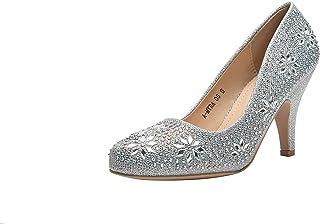 Ashley A (AA-MAYRA05 公主闪耀水晶宝石水钻闪光正装高跟鞋,婚礼鞋晚礼服高跟鞋