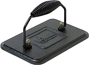 Lodge 预调味料铸铁烤架压力机,带冷柄螺旋把手,黑色,4.5英寸 X 6.75英寸(约11.43 X 17.15厘米)