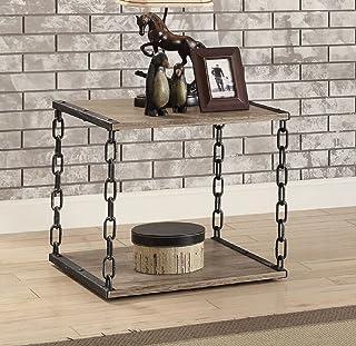 Major-Q 9082192 23 英寸(约 58.4 厘米)高工业现代风格古董黑色金属链框架木质质朴橡木饰面顶部客厅餐桌