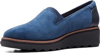 Clarks 女式 Sharon Dolly Welt-11M 乐福鞋,*蓝麂皮 w/深棕色 Welt