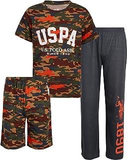 U.S. Polo Assn. 男童睡衣套装 - 3 件套短袖 T 恤,睡裤和睡裤(小男孩/大男孩)